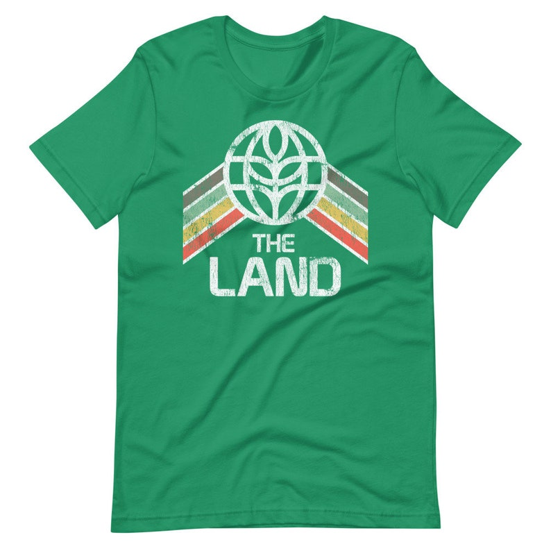 The Land T-Shirt with Green Yellow and Red Rainbow Stripes  Green