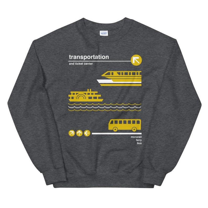 Transportation and Ticket Center Sweatshirt  Monorail Ferry Dark Heather