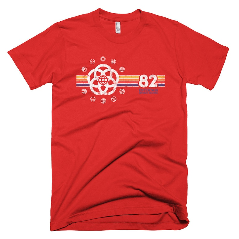 EPCOT Shirt  EPCOT Center T-Shirt with Pavilion Logos and a Red