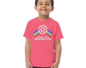 Journey Into Imagination Toddler jersey t-shirt with Green, Blue, Yellow and Red Rainbow Stripes - A Retrocot Original