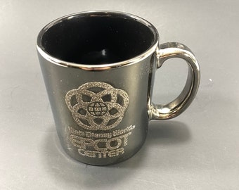 EPCOT Center Smoke Glass Cup - Chrome Drinking Mug - Metallic Finish with Raised Sparkling Glittery Letters from the EPCOT Logo