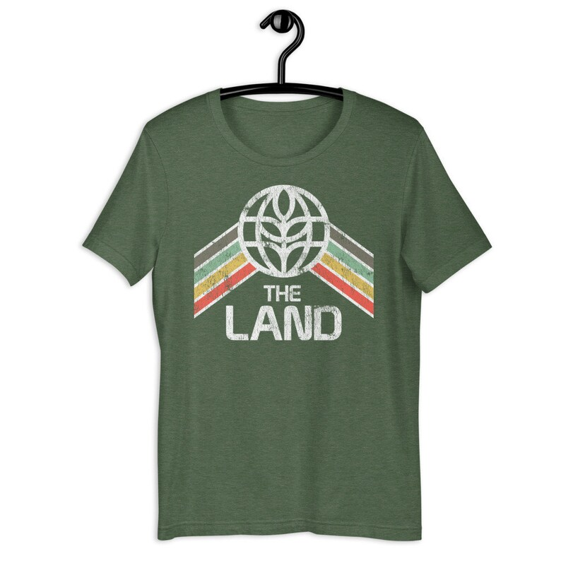 The Land Tri-Blend T-Shirt with Green Yellow and Red Rainbow image 1