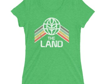 The Land Ladies Tri-Blend T-Shirt with Green, Yellow and Red Rainbow Stripes - A Retrocot Original