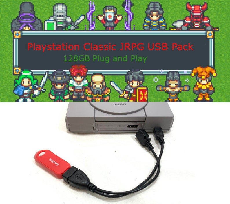 JRPG Pack Playstation Classic USB 128GB Power Mod OTG Cable image 0