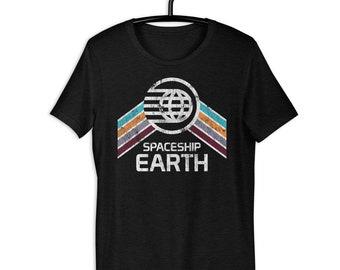 Spaceship Earth Tri-Blend T-Shirt with Teal, Orange and Purple Rainbow Stripes - A Retrocot Original
