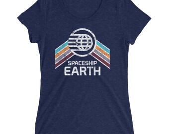 Ladies Tri-blend Epcot Center Spaceship Earth T-Shirt, Women's, Bella - A Retrocot Original