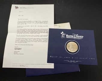 Commemorative Euro Disney Medallion Coin with Letter to Castmembers from EURO Disneyland Paris Resort Grand Opening April 12, 1992