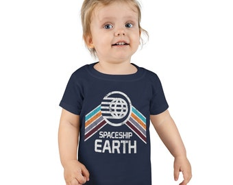 Spaceship Earth Toddler T-shirt  with Teal, Orange and Purple Rainbow Stripes - A Retrocot Original