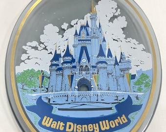 Walt Disney World Cinderella Castle Decorative Shadow Glass Painted Plate - Magic Kindgom, Made in Japan, Disneyland