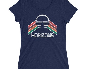 Horizons Epcot Center Ladies' short sleeve t-shirt with Red, Purple, Orange and Green Rainbow Stripes - A Retrocot Original