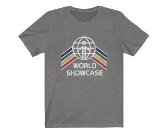World Showcase EPCOT Center Shirt - EPCOT Center World Showcase Logo with a Yellow, Green, Red, Blue Stripe Rainbow - A Retrocot Original