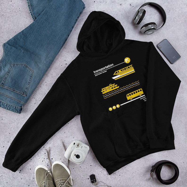 Transportation and Ticket Center Unisex Hoodie Hooded Black
