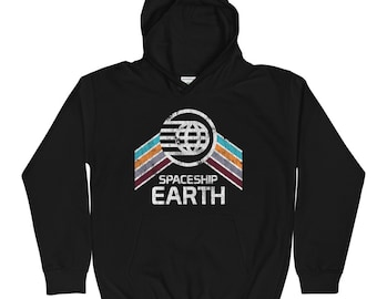 Kids Youth Spaceship Earth Sweatshirt Hoodie with Teal, Orange and Purple Rainbow Stripes - A Retrocot Original