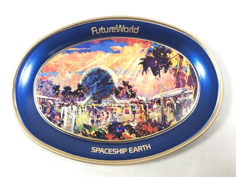 Epcot Center Spaceship Earth Metal Tray from 1982 Future World image 0