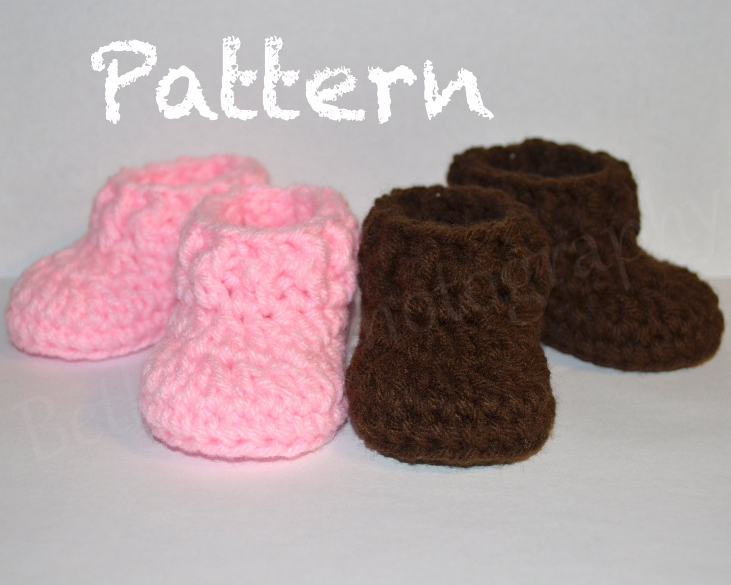 0 3 Months Crochet Baby Pattern Easy Baby Booties Baby Etsy