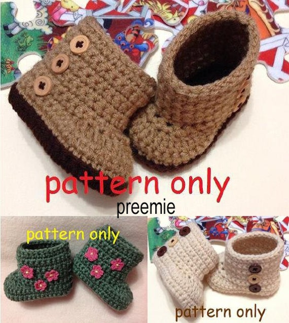 Preemie Crochet Pattern Crochet Baby Boots Booties Pattern Etsy