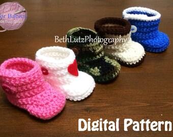 Newborn Crochet Pattern, Baby Boots, Newborn Pattern, Booties Pattern, Crochet Newborn Booties Pattern, Crochet Baby Booties, Digital Item.