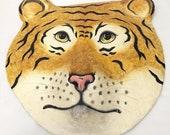 Paper Mache Tiger Face Wall Art Sculpture 24 x 24 Hand Painted Folk Art 3D