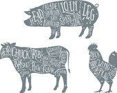 Cuts of Meat Wall Art Diagram Wall Sticker Beef, Pork and Chicken Butchers Decal Anatomy Vinyl