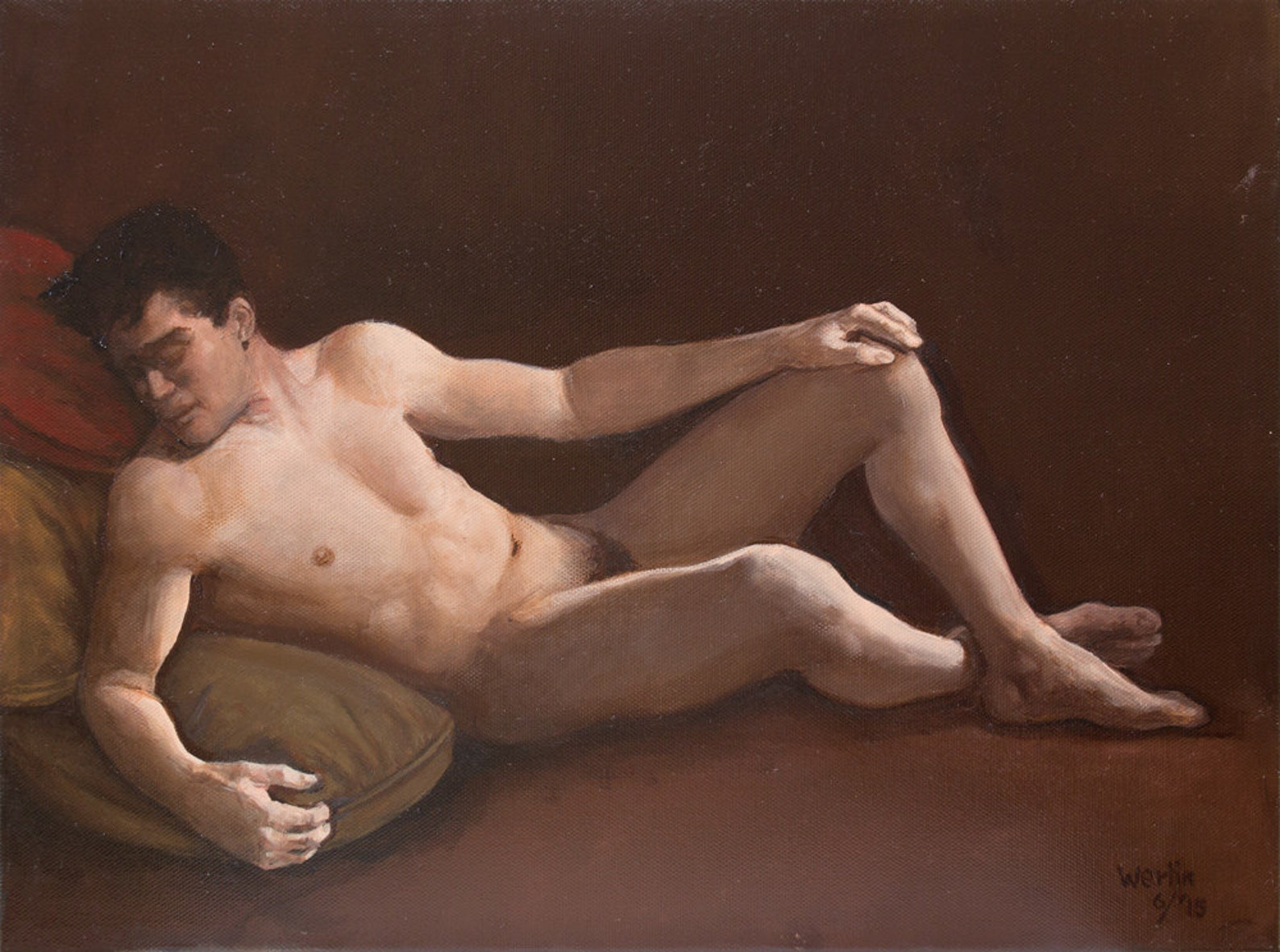 Nude male in socks painting