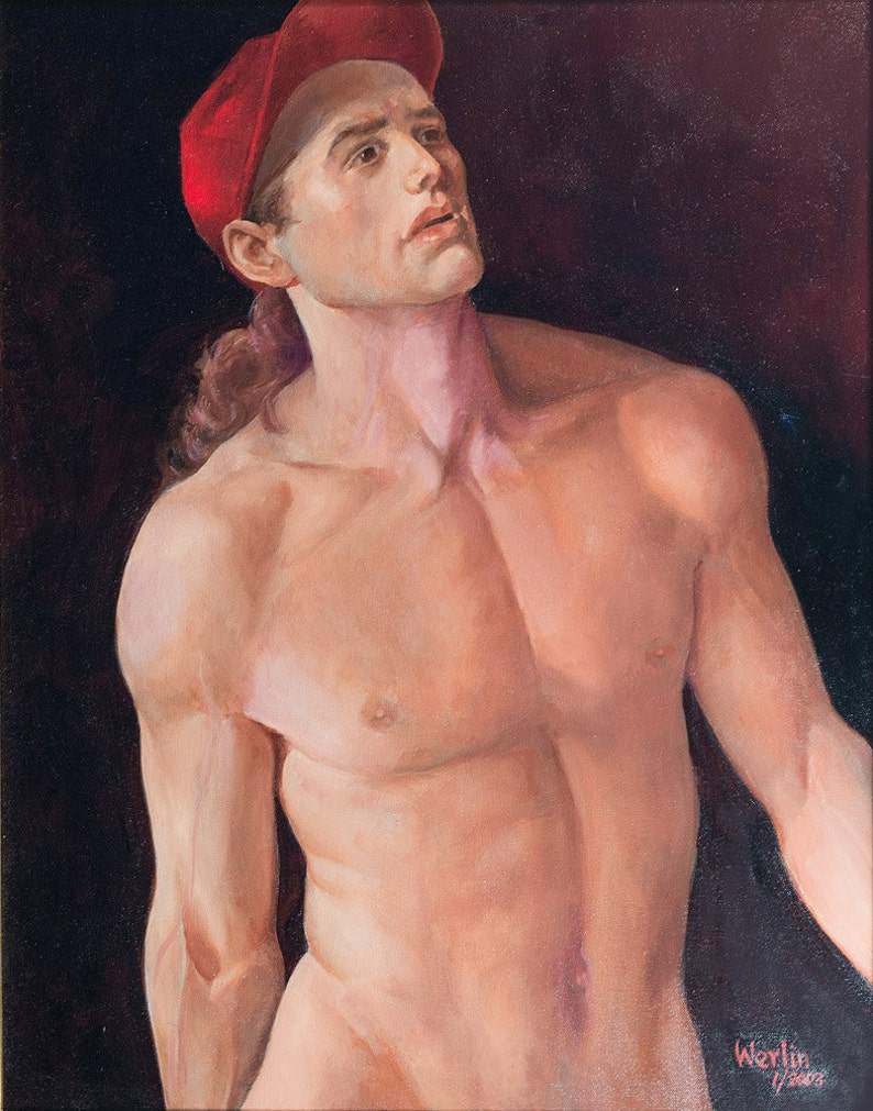 Red Cap  Male Nude Fine Art Oil Painting  22 x 28 image 0