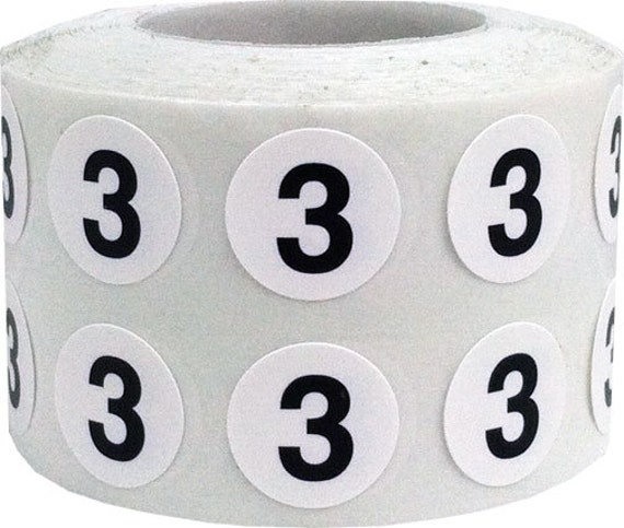 Tiny number 3 labels 0 5 inch round number stickers