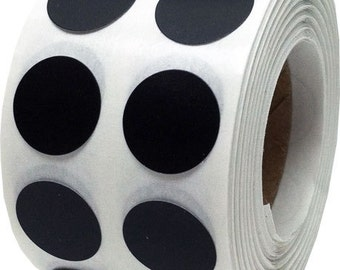 """1,000 Black Dot Stickers - Solid Black Small 1/2"""" Inch Round Adhesive Labels/Roll"""