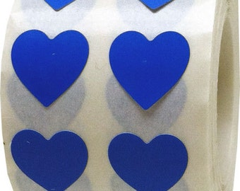Small Half Inch Blue Adhesive Heart Stickers | 1,000 Labels