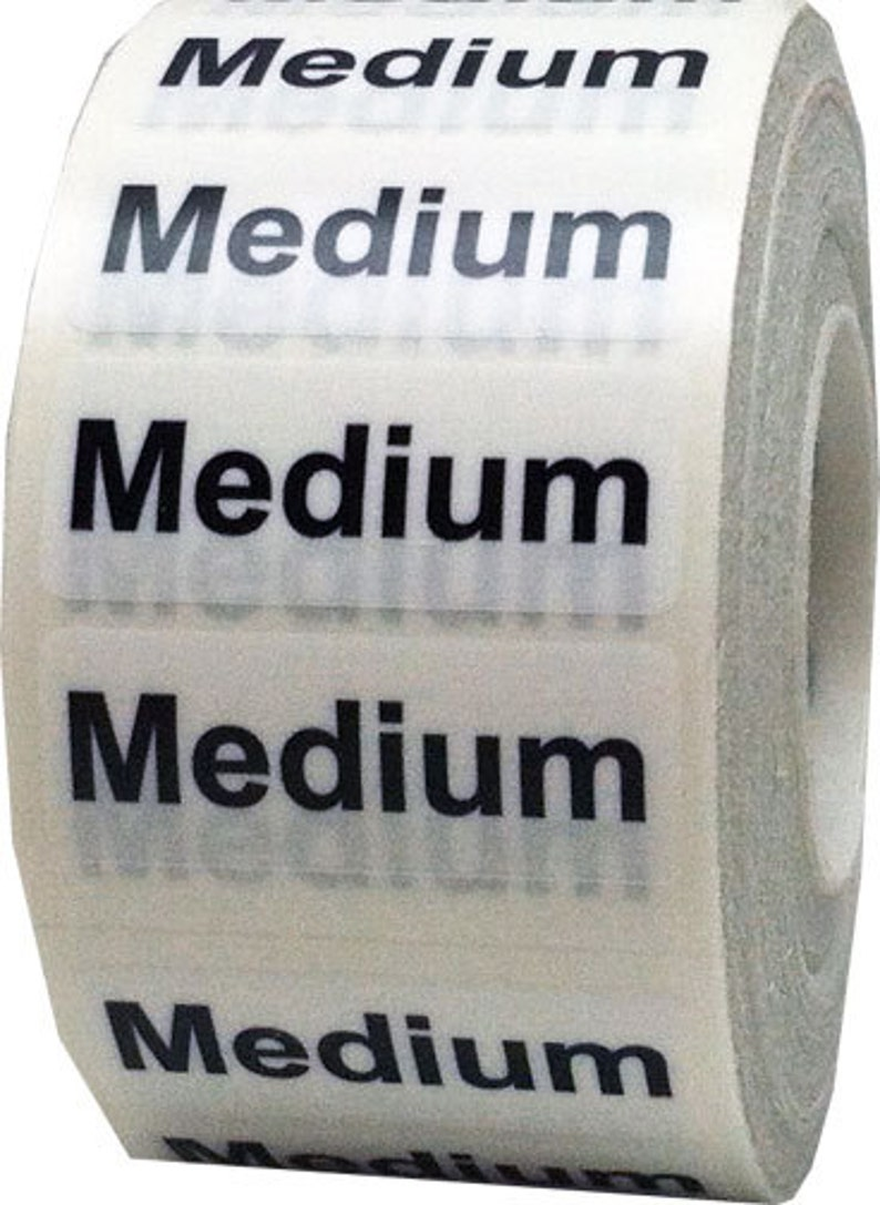 f8accca5d9e0 Medium Retail Clothing Size Stickers - Wrap Around 1.25 x 5 Inch Size  Strips Clear with White/Black Adhesive Apparel Labels