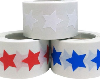 4th of July Star Stickers - Red, White and Blue Adhesive Stars - 1,500 Total Labels
