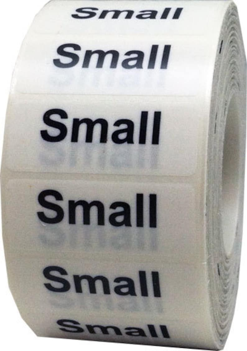 18200ff99754 Small Retail Clothing Size Stickers - Wrap Around 1.25 x 5 Inch Size Strips  Clear with White/Black Adhesive Apparel Labels