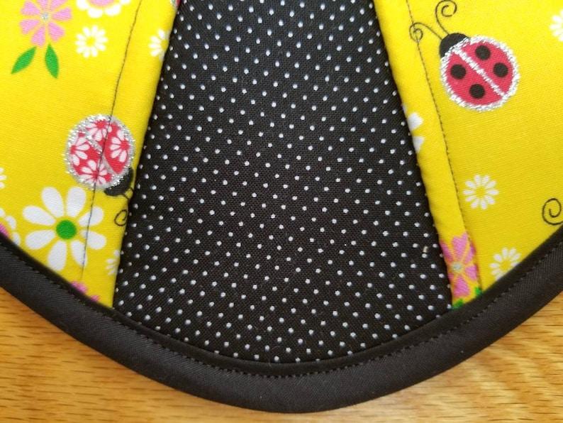 Set of two Ladybugs and flowers handmade heart potholders