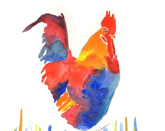 Chicken prints, Colourful Chicken prints, Large wall art, Farmhouse decor, colourful cockerel prints, chicken lovers art, Rooster print.