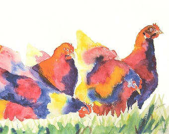 Colourful garden chicken print, watercolor print of some chickens, Chicken pictures,
