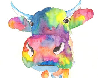 Cow prints, Colourful cow art, Pictures of cows, watercolor paintings of cows, colourful cow prints, cow lovers gifts, Large cow wall art.