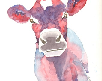 Jersey Cow watercolour print, Paintings of Jersey cows, Abstract cow art, Large colourful cow prints, Contempary wall art, Cow art,dylshouse