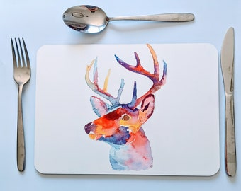 Stag tablemats, Christmas table mats, placemats with stags on. Christmas placemats, animal tablemats. large placemats.