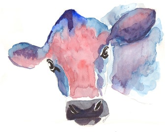 Cow print, paintings of cows. Jersey cows. Cow art. watercolor prints of cows, large cow art, abstract cows, Modern colourful Cow art,