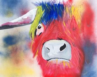 Highland Cow Print, Colourful print of a Highland Cow. Cow Prints. Large Fine art Cow print. Colourful Cow wall art.