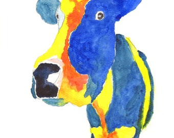 Cow paintings. Watercolour paintings of cows. Pictures of cows paintings of colourful cows. Cow art, gifts for cow lovers watercolour cows