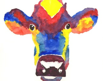 Cow prints colourful animal Giclee print original animal watercolour paintings. Pictures of cows. Large cow art abstract cows. Cow art