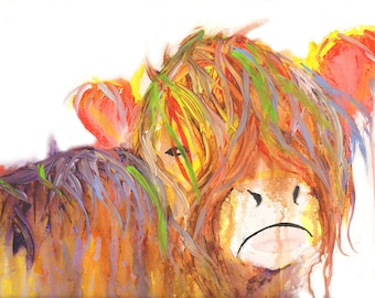 Highland cow print,Cow paintings, paintings of highland cows, highland cow art, Cow art, Acrylic cow art, large cow paintings, Cow pictures,
