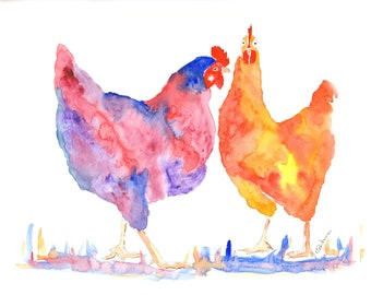 Chicken prints, paintings of kitchen chickens, Chicken prints for the kitchen. Colourful prints of chickens, Pictures for chicken lovers,