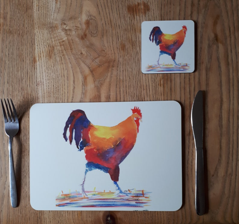Placemats and coaster sets chicken printed placemats cockerel on a placemat table mats with chickens on