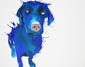 Labrador retriever prints, Portrait of a Black Labrador, Ink portrait of a black Labrador, Contemporary art Print of a Labrador, Labradors.