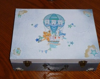 Memory Box For Boy Blue and White Wooden Chest
