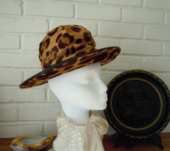 Vintage, Leopard Hat, Wide Brim Hat, Mid-Century,