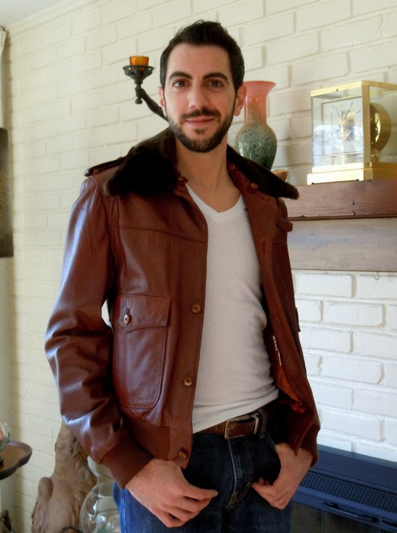 Vintage, Bomber Jacket, Brown Leather Jacket, Flig