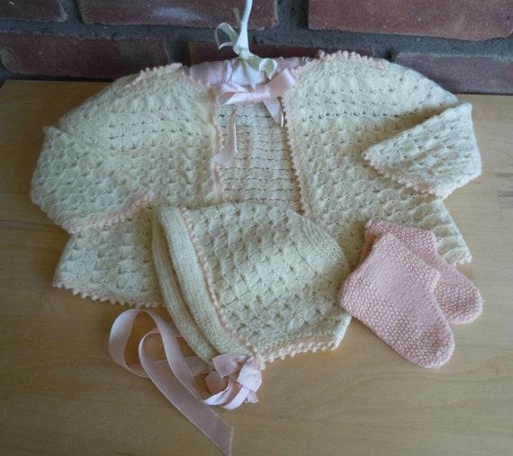 Vintage, Baby Girl's Sweater Set, Handmade, 1950's