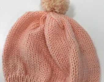 Handmade baby girl knitted cap
